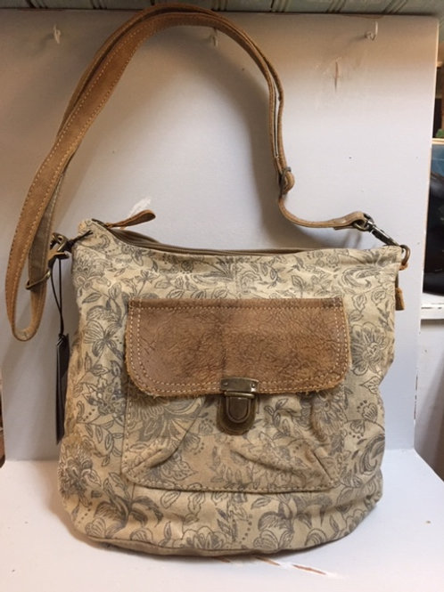 Myra Pocketbook Tan Floral Pattern with Leather