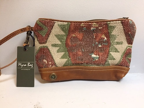 Myra Aztec Leather Wristlet