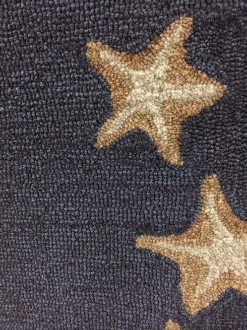 Dark Blue with Natural Sea Stars 2 x 8' Runner