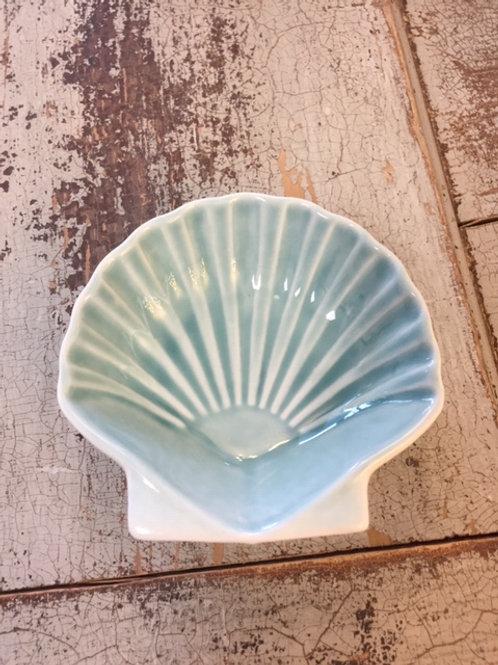 Blue Ceramic Scallop Shell Dish
