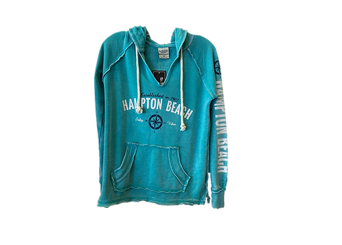 Aqua Adult V-notch Ladies Burnout Hoodie