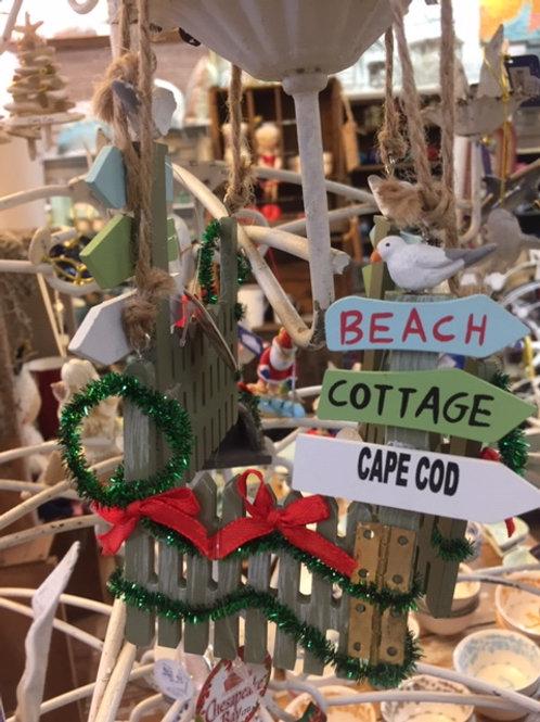 Wooden Beach Fence Christmas Ornament