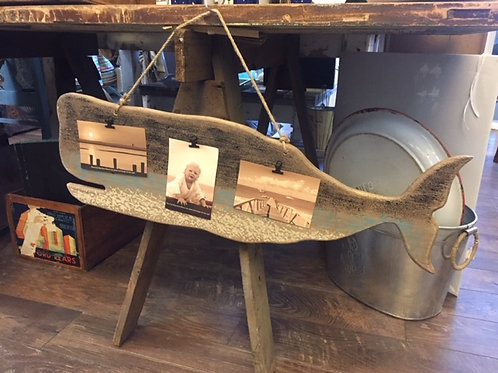 Wooden Whale Cut Out Wall Hanging/Photograph Holder
