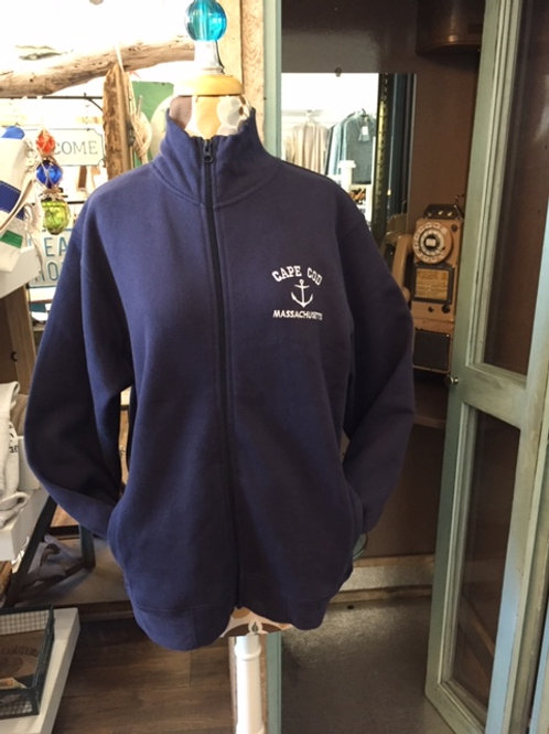 Blue Full Zip Sweatshirt with Pockets and Left Chest Embroidery