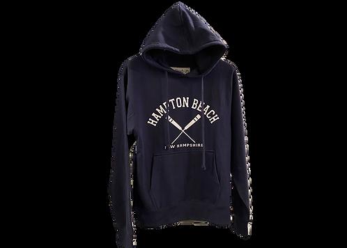 Navy Blue Hooded Sweatshirt with Crossed Oars Design