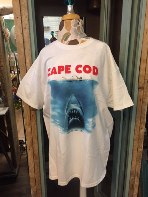 Mens White T-shirt with JAWS Movie Poster Logo Cape Cod