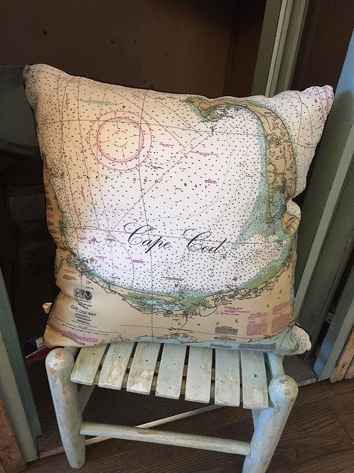 Cape Cod Chart Map Pillow
