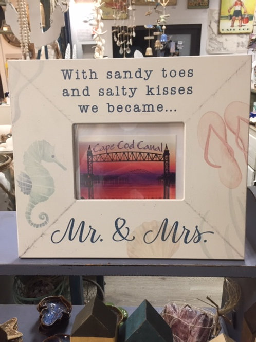 With Sandy Toes and Salty Kisses We Became Mr. and Mrs Wooden Picture Frame