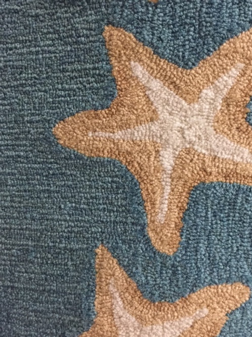 Slate Blue with Natural Sea Stars 2 x 8' Runner