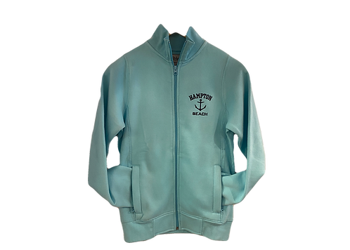 Aqua Full Zip Sweatshirt with Left Chest Embroidery