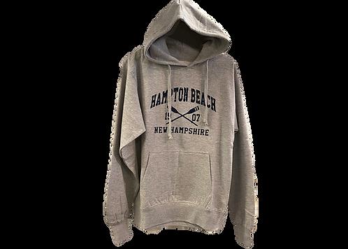Grey Hooded Sweatshirt with Crossed Oars Design