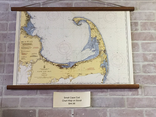 Cape Cod Chart Map on Wooden Scroll