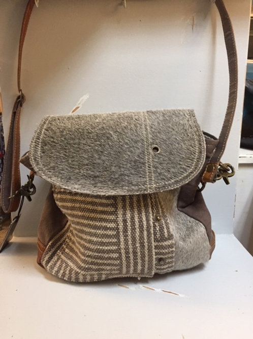 Myra Pocketbook Striped Pattern with Cow Hair and Leather