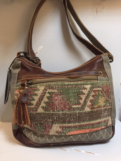 Myra Aztec Pattern with Leather Pocketbook