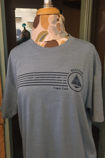 Super Soft Mens Slub T-shirt with Hyannis/Sailboat Design