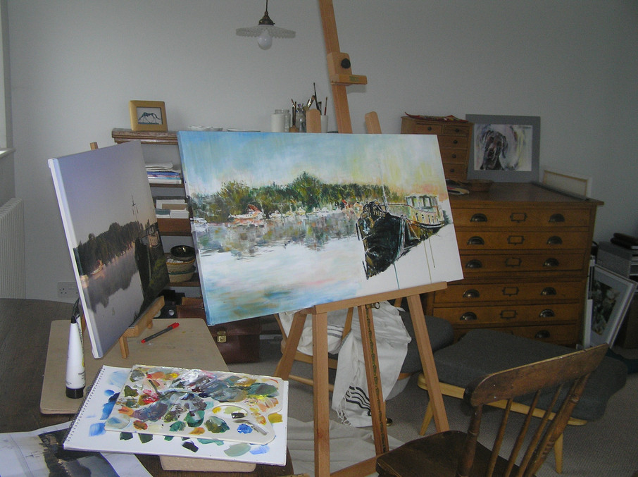 making of Basin Rond in acrylics.