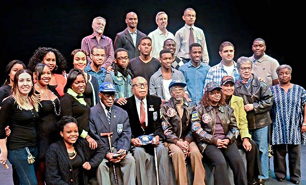From left, Tuskegee Airmen Audley Coulth