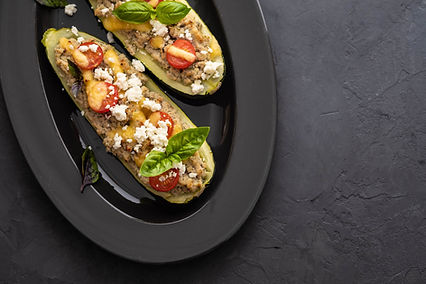 Zucchini Stuffed with Beef, Tomatoes, an
