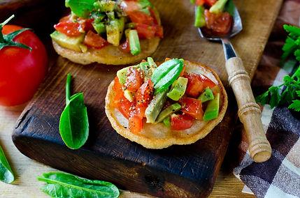 Egg-less Pancakes with Tomato Avocado Sa
