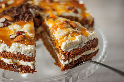 Carrot Cake with Almonds & Chocolate Cur