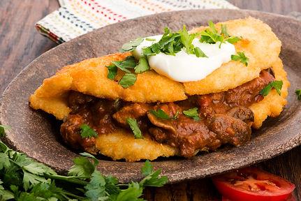 Potato Pancakes Stuffed with Beef & Vegg