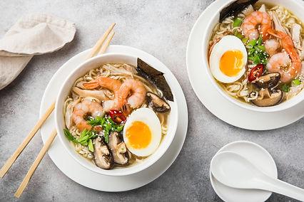 Ramen with Egg, Prawn, and Shiitake Mush