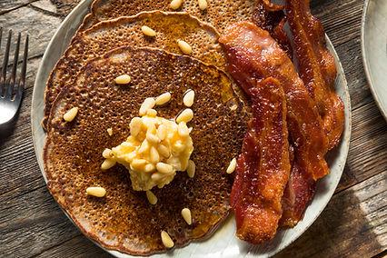 Blue Corn Pancakes with Honey Pine Nut B