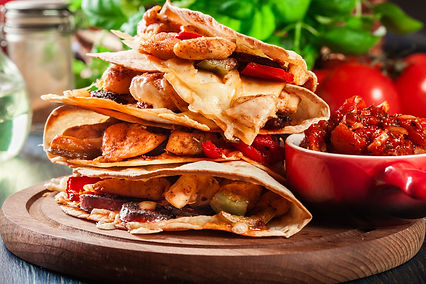 Chicken Quesadilla with Chorizo & Red Pe