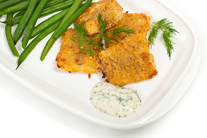 Oven-Fried Fish with Green Beans