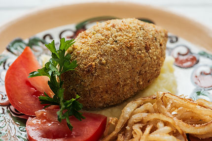 Chicken Kiev with Mashed Potatoes & Frie