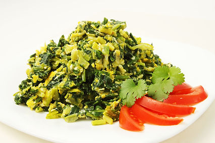 Spinach Scramble with Ramson, Cilantro.j