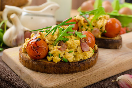 Scrambled Eggs with Herbs, Bacon, and To