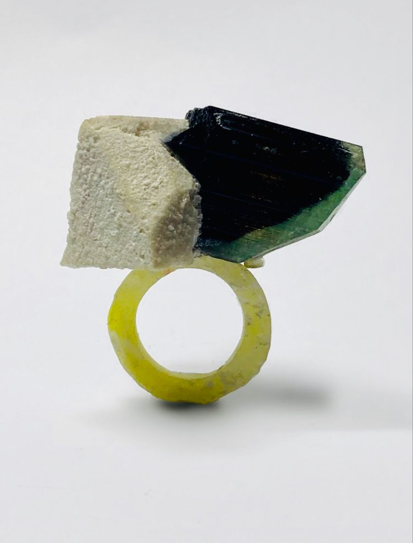 mixed media ring Osian Efnisien 2020 Tormaline, feltspar, paper, resin  for sizes and availability please message me at osianefnisien@hotmail.co.uk