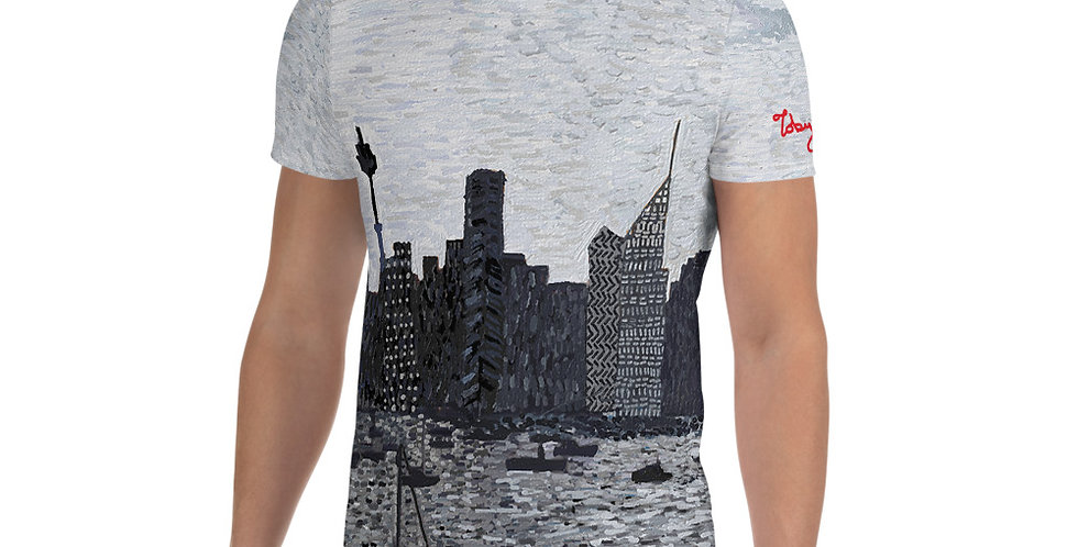 Sydney City (Monochrome) All-Over Print Men's Athletic T-shirt