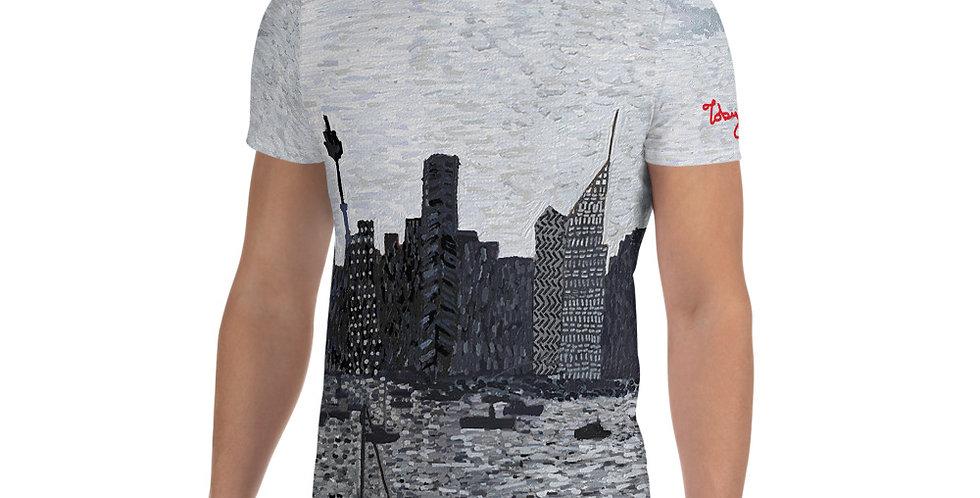 सिडनी सिटी (मोनोक्रोम) ऑल-ओवर प्रिंट पुरुषों की एथलेटिक टी-शर्ट