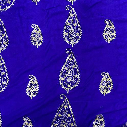 刺繍ペイズリーブルー(インドシルク)