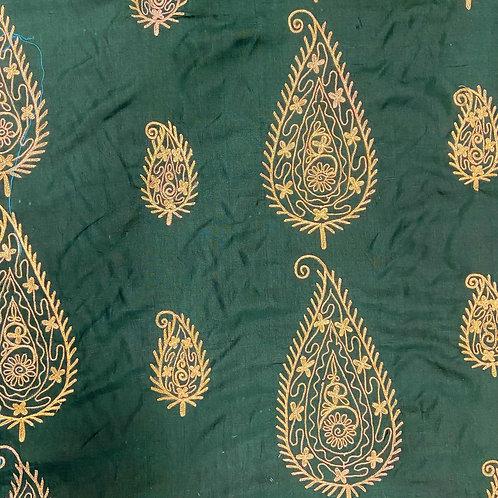 刺繍ペイズリーグリーン(インドシルク)