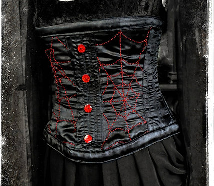 Spinderella the Black Widow Metal Boned Couture Corset