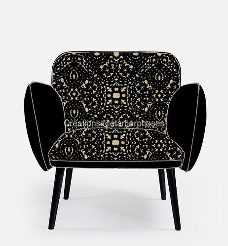 Fauteuil moderne de salon avec tissu impressions velours Christian Lacroix et velours noir