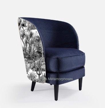 Fauteuil moderne de salon avec imprimé cactus Pierre Frey et uni bleu