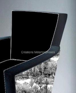 Fauteuil lounge avec imprimé cactus Pierre Frey et velours marine