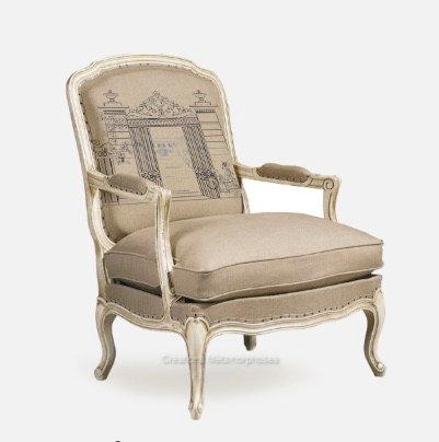 Bergère de style Louis XV avec impression personnalisée sur lin ficelle