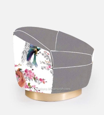 Fauteuil de salon avec création de motif japonisant et velours gris