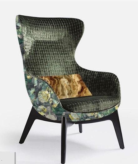 Fauteuil lounge personnalisable avec imprimé velours et velours texturé