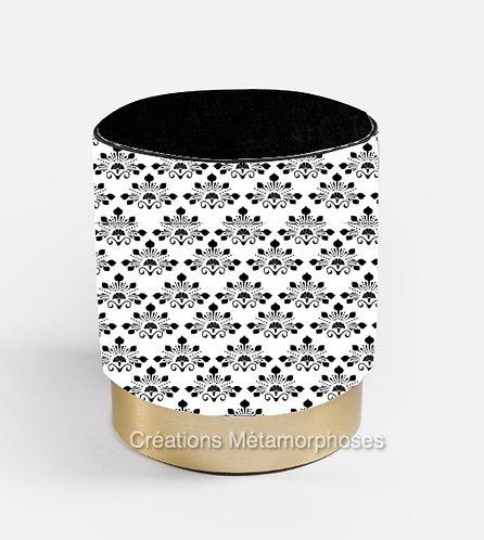 Pouf avec création de motif Art Déco et velours noir