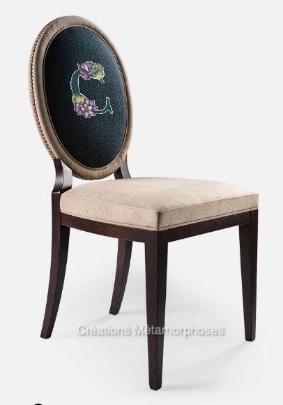 Chaise salle à manger, cuisine avec créations de monogramme, uni alcantara