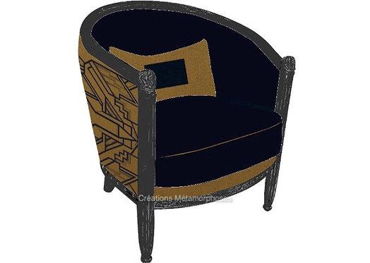fauteuil tonneau personnalisable avec création de motif cadre Art Déco sur fond camel et velours bleu nuit