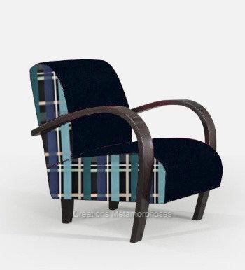 Fauteuil lounge de salon personnalisable avec tissu à carreaux Christian Lacroix et velours bleu nuit