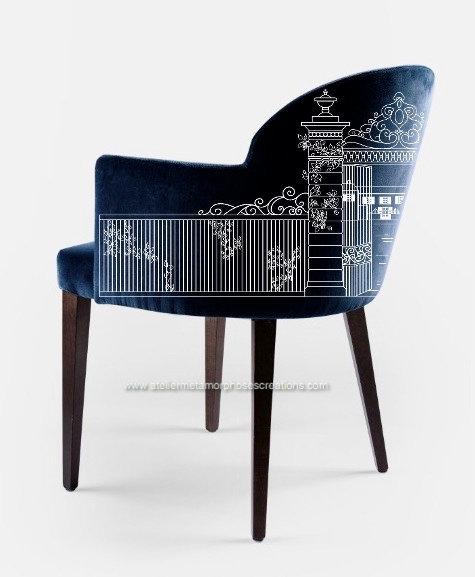 Fauteuil bridge lounge de salon, salle à manger personnalisable avec création d'un motif sur velours