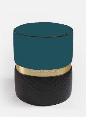 Pouf avec velours bleu canard et noir pour salon, chambre
